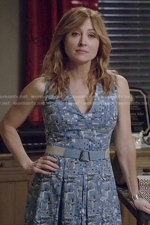 Maura's blue printed v-neck dress on Rizzoli and Isles