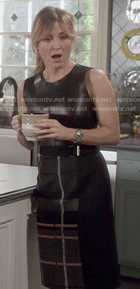 Maura's plaid and leather dress on Rizzoli and Isles