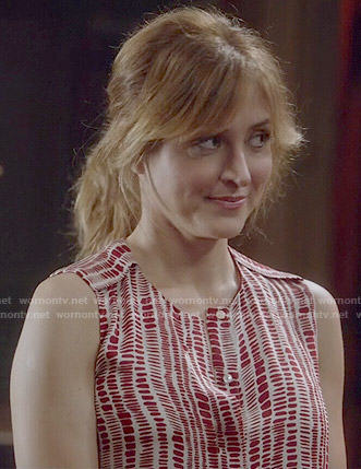 Maura's red dashed print blouse on Rizzoli and Isles