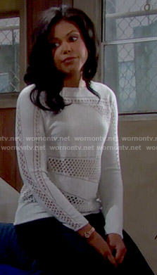 Maya's off-white perforated sweater on The Bold and the Beautiful