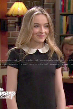 Maya's black dress with white collar on Girl Meets World