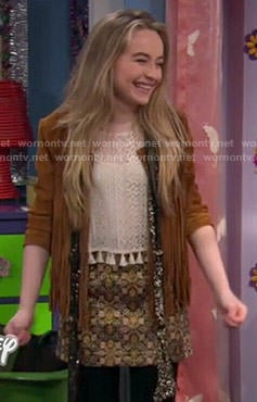 Maya's tan fringed jacket and gold skirt on Girl Meets World