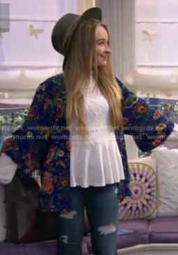 Maya's white lace top and blue floral kimono on Girl Meets World