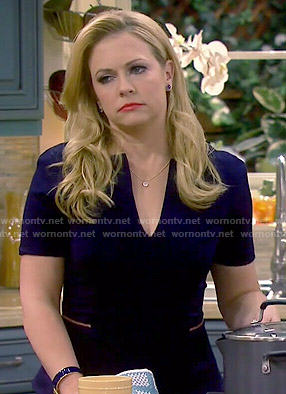 Mel's navy peplum dress on Melissa and Joey