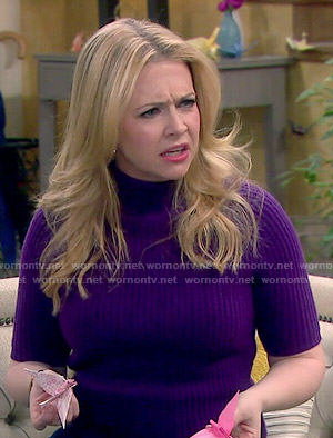 Mel's purple high neck sweater on Melissa and Joey