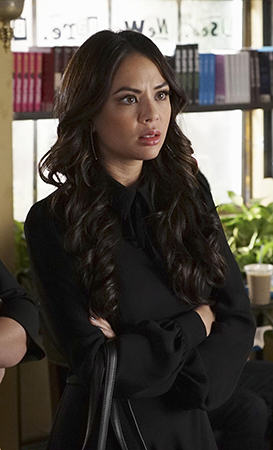 Mona's black long sleeve collared dress on Pretty Little Liars
