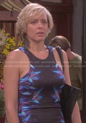 Nikki's blue and purple body-con dress with printed sides on Days of our Lives
