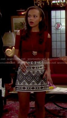 Nicole's red cold shoulder top and patterned skirt on The Bold and the Beautiful