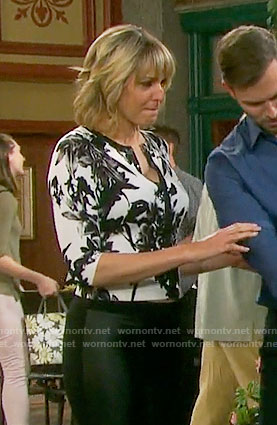 Nicole's black and white floral cardigan on Days of our Lives