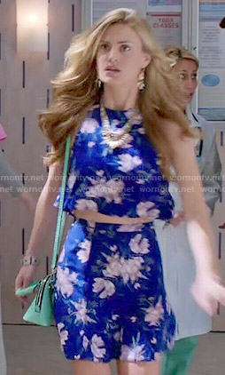Paige's blue floral crop top and skirt co-ord set on Royal Pains