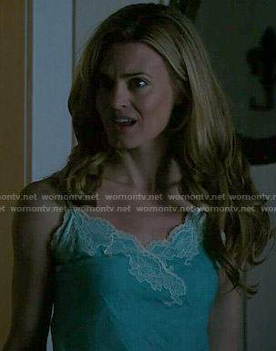 Paige's blue lace trim chemise on Royal Pains