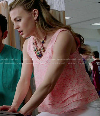 Paige's crack printed layered top on Royal Pains