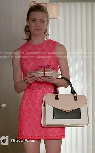 Paige's red lace crop top and skirt set and colorblock satchel on Royal Pains
