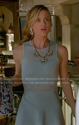 Paige's blue mesh panel dress on Royal Pains