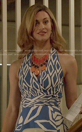 Paige's blue printed halter dress on Royal Pains