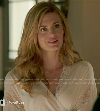 Paige's white lace trim robe on Royal Pains