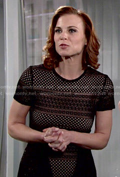 Phyllis's black mesh top on The Young and the Restless