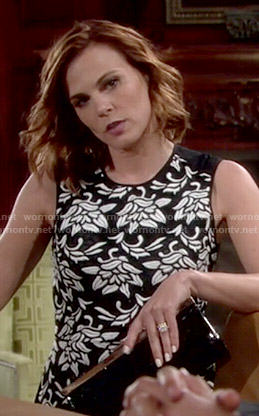 Phyllis's black and white floral top on The Young and the Restless