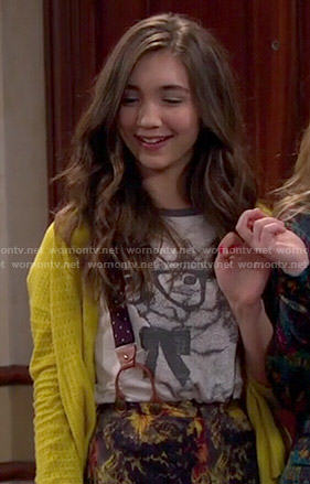 Riley's bunny t-shirt, yellow cardigan and floral shorts on Girl Meets World