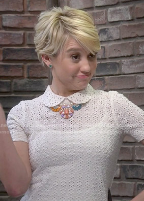 Riley's white collared eyelet top on Baby Daddy