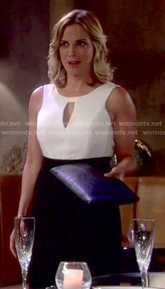 Sage's black and white keyhole jumpsuit on The Young and the Restless