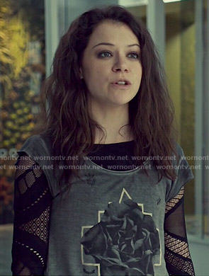 Sarah's flower/rose graphic tee and mesh top on Orphan Black