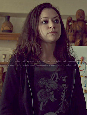 Sarah's floral skeleton graphic tee on Orphan Black