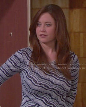 Serena's blue and white striped cross front dress on Days of our Lives