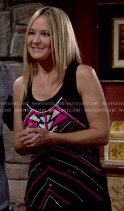 Sharon's black and pink beaded tank top on The Young and the Restless