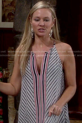 Sharon's diagonal striped top on The Young and the Restless