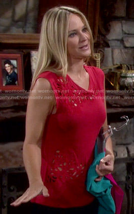 Sharon's red cutout top on The Young and the Restless