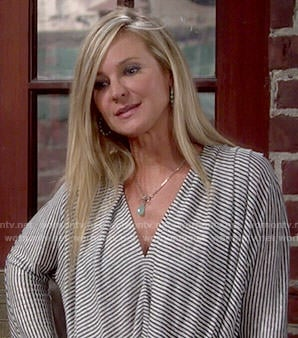 Sharon's striped draped top on The Young and the Restless