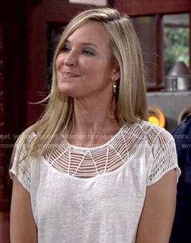 Sharon's white cutout yoke tee on The Young and the Restless