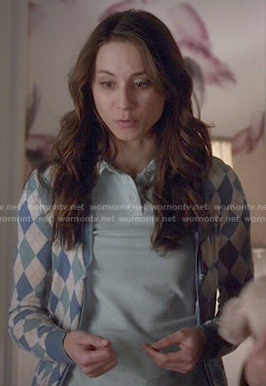 Spencer's blue argyle cardigan on Pretty Little Liars