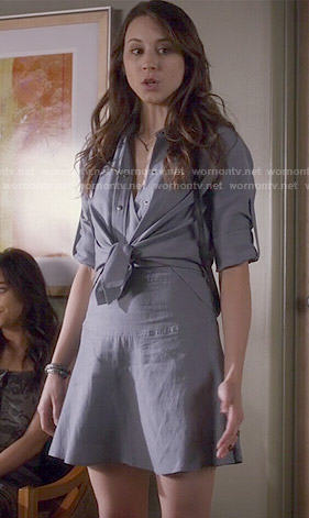 Spencer's tie-front chambray dress on Pretty Little Liars