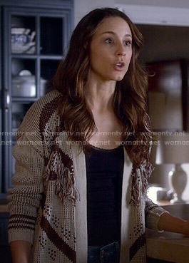 Spencer's fringed cardigan on Pretty Little Liars