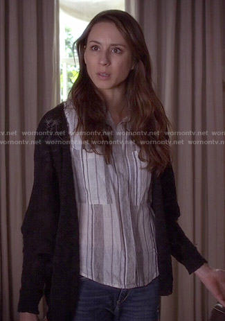 Spencer's grey vertical striped shirt on Pretty Little Liars