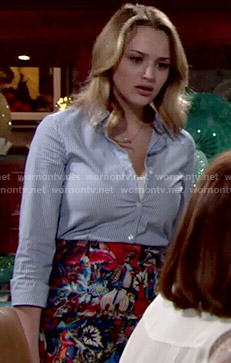 Summer's  floral skirt and striped shirt on The Young and the Restless