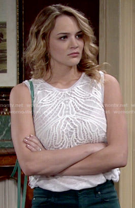 Summer's white embroidered overlay top on The Young and the Restless