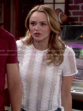 Summer's white lace top with side ties on The Young and the Restless
