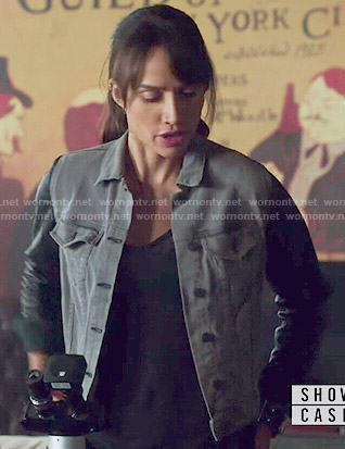 Tess's grey denim jacket with leather sleeves on Beauty and the Beast