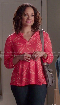 Zoila's coral printed top on Devious Maids