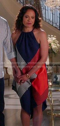 Zoila's navy and orange square print halter neck dress on Devious Maids