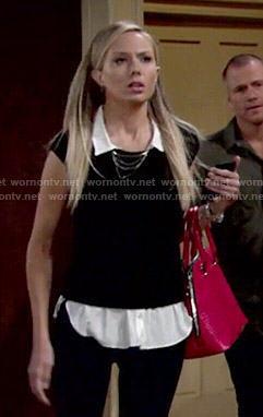Abby's black and white layered top on The Young and the Restless