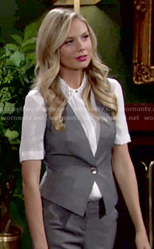 Abby's grey vest with floral back on The Young and the Restless