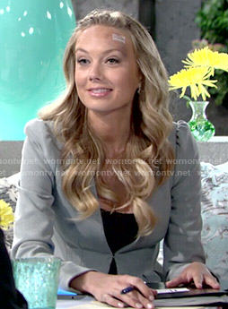Abby's grey peplum jacket on The Young and the Restless
