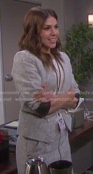 Abigail's grey tweed blazer and zip-front skirt set on Days of our Lives