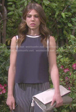 Abigail's navy top and striped pants on Days of our Lives