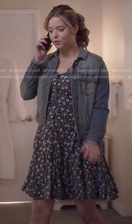 Ali's floral dress and denim jacket on Pretty Little Liars