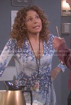 Anne's blue printed wrap dress on Days of our Lives
